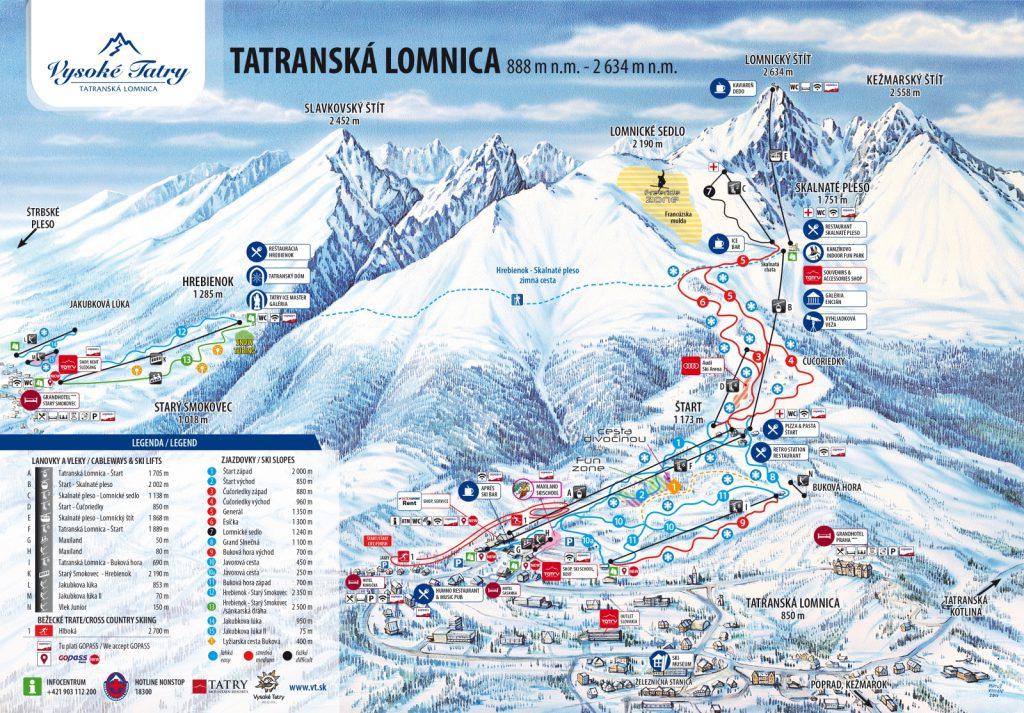 Горнолыжная карта Татранской Ломницы