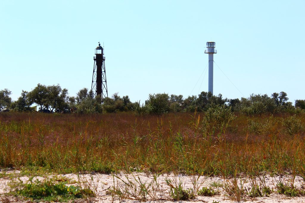 Lighthouses on Dzharylhach island, Kherson region, Ukraine