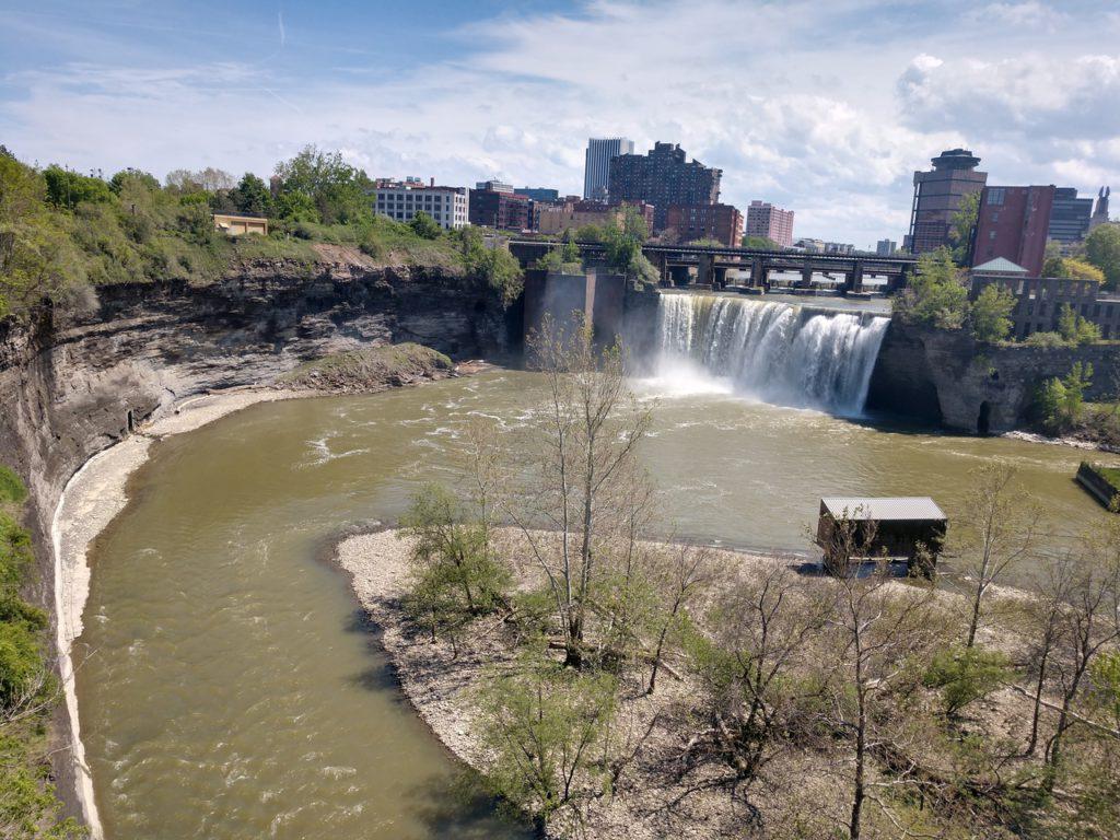 USA, Rochester, Genesee, High Falls Waterfall